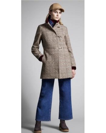 FAY - Wool and Alpaca VIRGINIA  Coat - Brandy/Sapphire//White