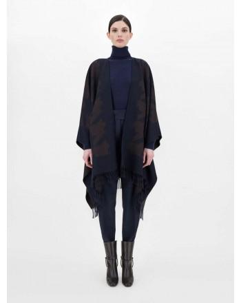 MAX MARA STUDIO - SAMUELE Wool Cape - Blue/Brown