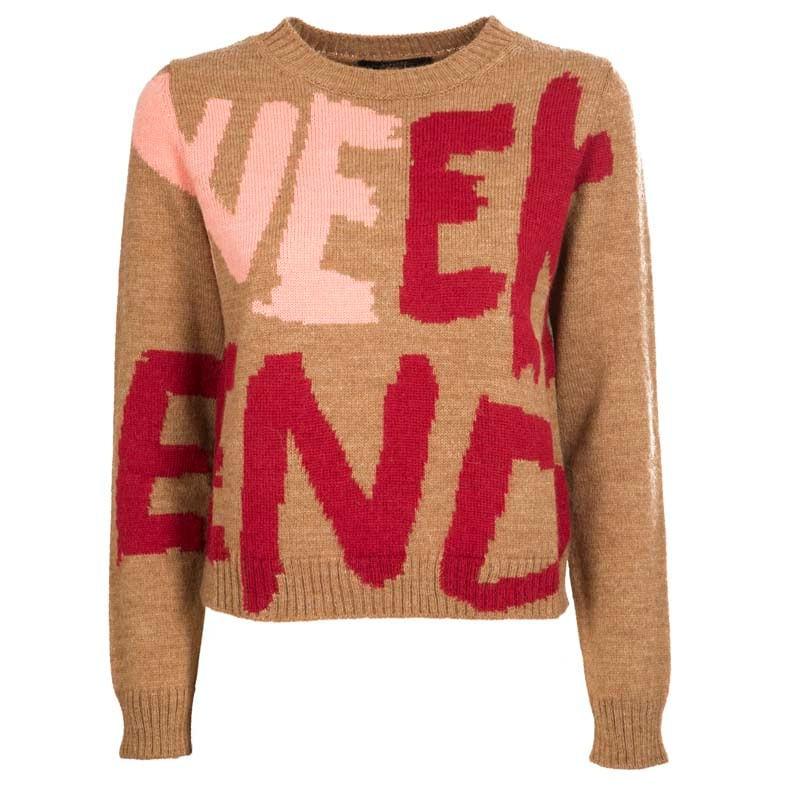 WEEKEND MAX MARA - ODESSA Blended  Wool Knit - Honey Writing