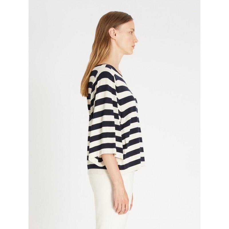 WEEKEND MAX MARA . NAZIONE Striped Knit - White/Blue