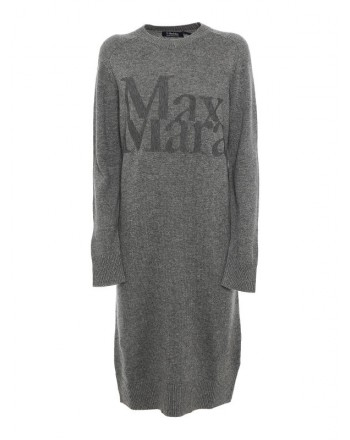 S MAX MARA - CURSORE Wool and Cashmere Dress -Medium Grey