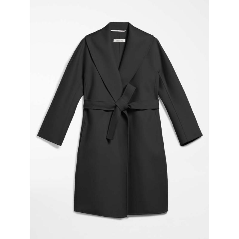 S MAX MARA - MESSI Wool Dressing Gown Coat - Black
