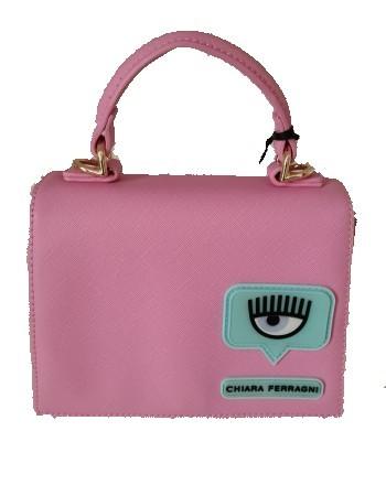CHIARA FERRAGNI - EYELIKE PATCH Leather Bag- Pink