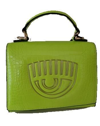 CHIARA FERRAGNI - FRAME EYE Leather Bag - Neon Green