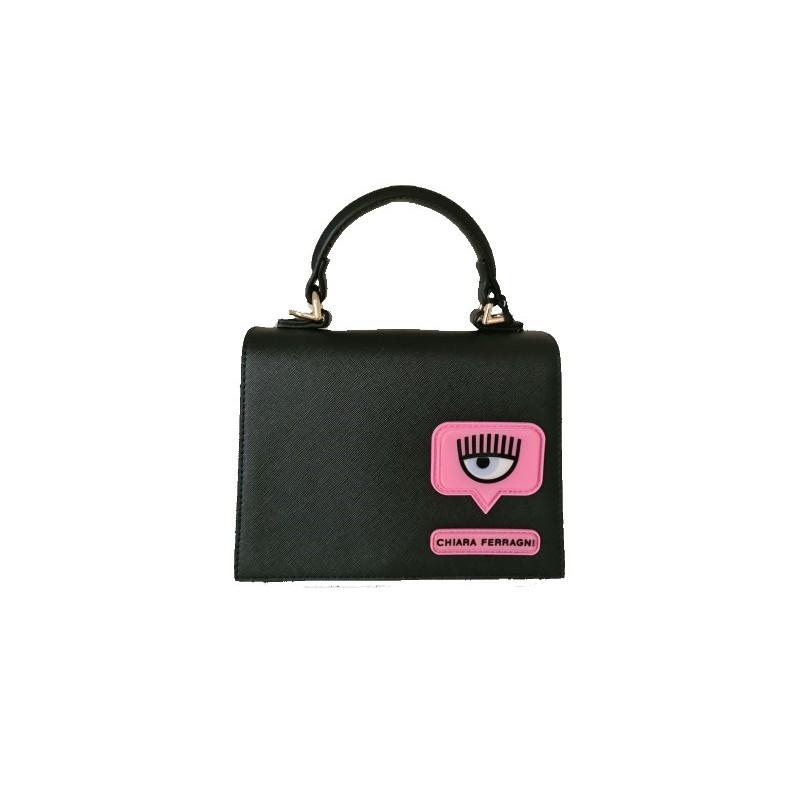 CHIARA FERRAGNI - EYELIKE PATCH Leather Bag- Black