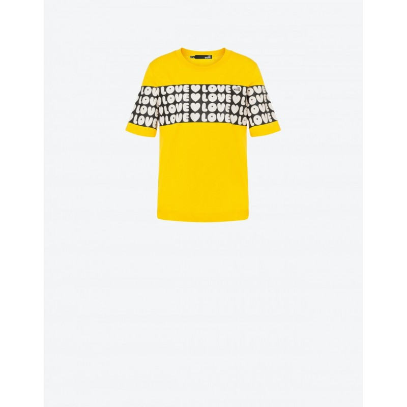LOVE MOSCHINO - BOLD LOVE Jersey T-Shirt - Yellow