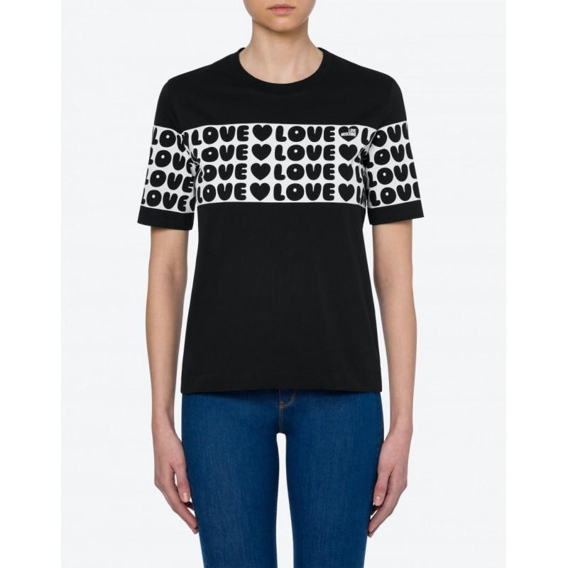 LOVE MOSCHINO -T-Shirt in Jersey BOLD LOVE - Nero