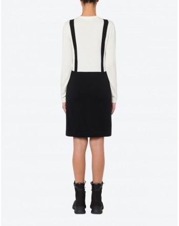 LOVE MOSCHINO - Blended Cashmere Trompe L'Oeil Dress - Cream/Black