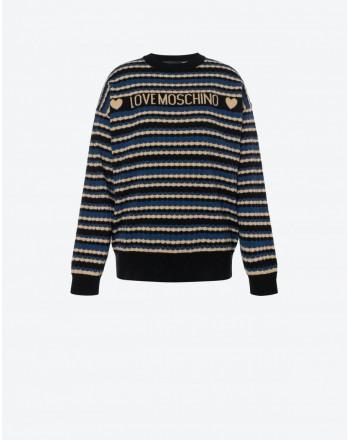 LOVE MOSCHINO - Striped Logo Wool Knit - Blue/Black/Camel