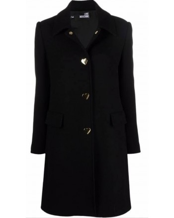 LOVE MOSCHINO - Blended Wool Coat with Heart Buttons - Black