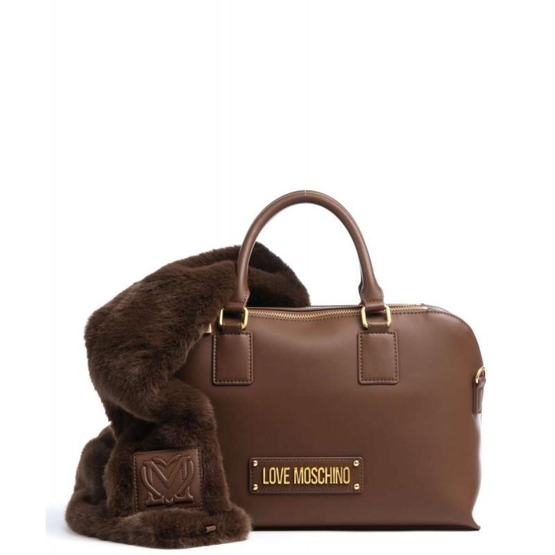LOVE MOSCHINO - FUR SCARF 2 Straps Bag - Brown