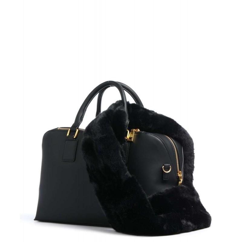 LOVE MOSCHINO - FUR SCARF 2 Straps Bag - Black