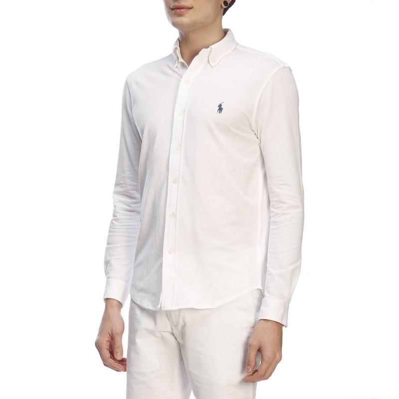 POLO RALPH LAUREN - Camicia Piquet 710654408 - Bianco