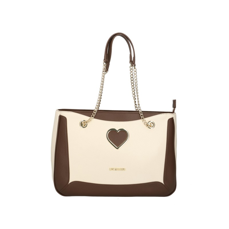 LOVE MOSCHINO - Metallic Heart Shopping Bag - Brown/Ivory