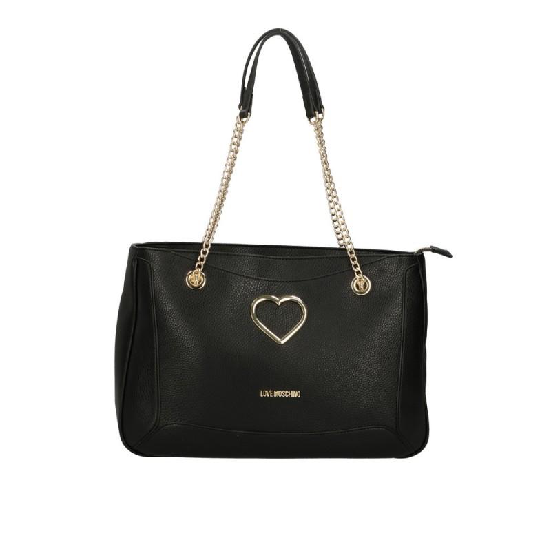 LOVE MOSCHINO - Borsa Shopping con Cuore Metallico - Nero