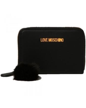 LOVE MOSCHINO - Portafoglio Zip Around con Dettaglio Fur - Nero