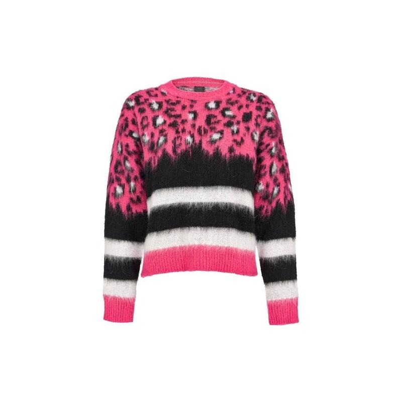 PINKO - BARILOT pullover - Fuchsia / Black / White