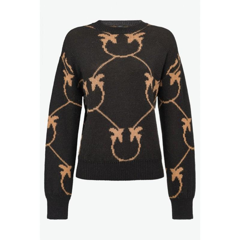 PINKO - ABBEY ROAD pullover - Nero/ Cammello