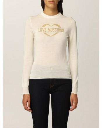 LOVE MOSCHINO - Maglia in Lana con Logo Glitter - Bianco