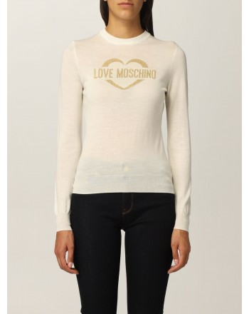 LOVE MOSCHINO - Wool Glitter Logo Knit - White