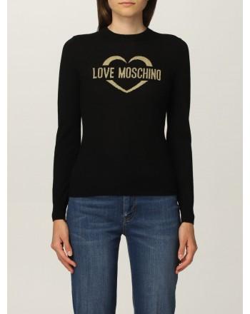LOVE MOSCHINO - Wool Glitter Logo Knit - Black