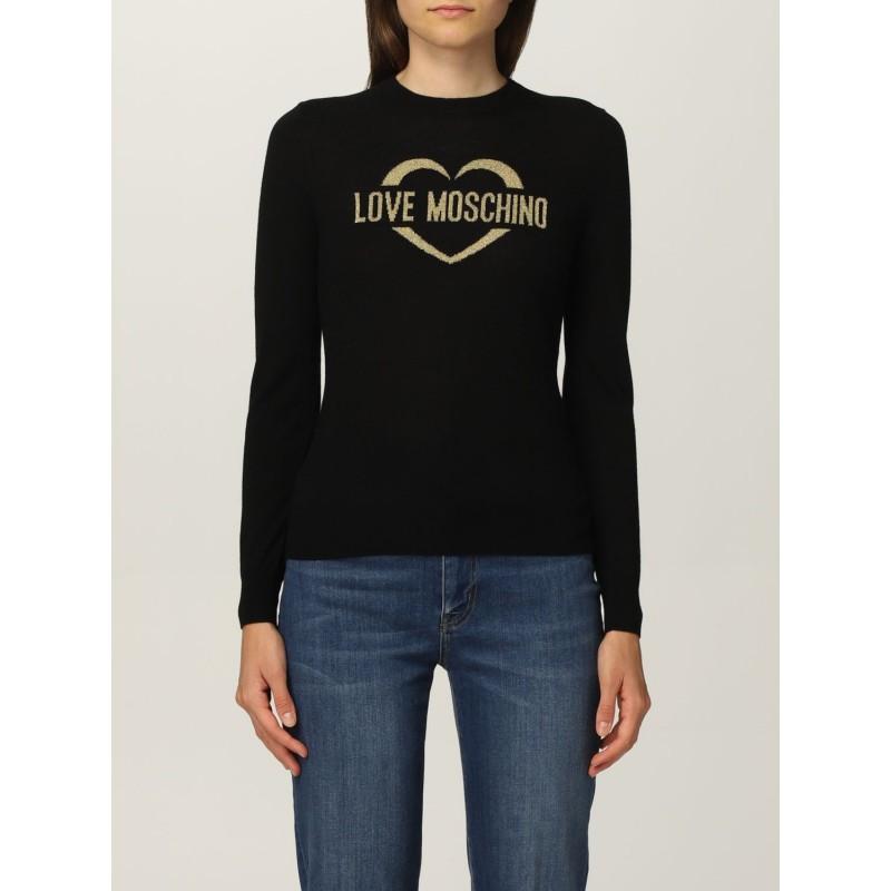 LOVE MOSCHINO - Maglia in Lana con Logo Glitter - Nero