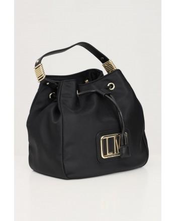 LOVE MOSCHINO - Metallic Logo Satchel Bag - Black