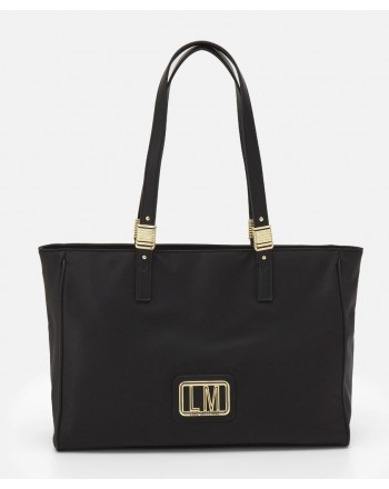 LOVE MOSCHINO -Metallic Logo Shopping Bag - Black