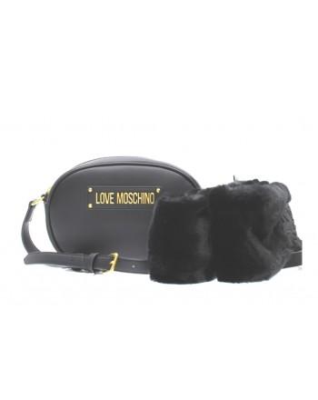 LOVE MOSCHINO - Oval Bag FUR SCARF - Black