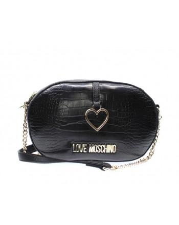 LOVE MOSCHINO - Oval Bag Croco Printed - Black