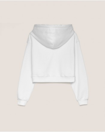 HINNOMINATE - Felpa in Cotone con Cappuccio Hnwsfco07- Bianco