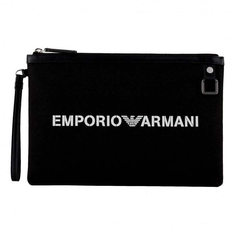 EMPORIO ARMANI - Bustina in cordura con logo bond Y4R342 - Nero