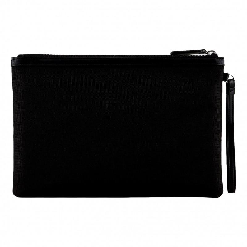 EMPORIO ARMANI - Cordura pouch with bond logo Y4R342 - Black