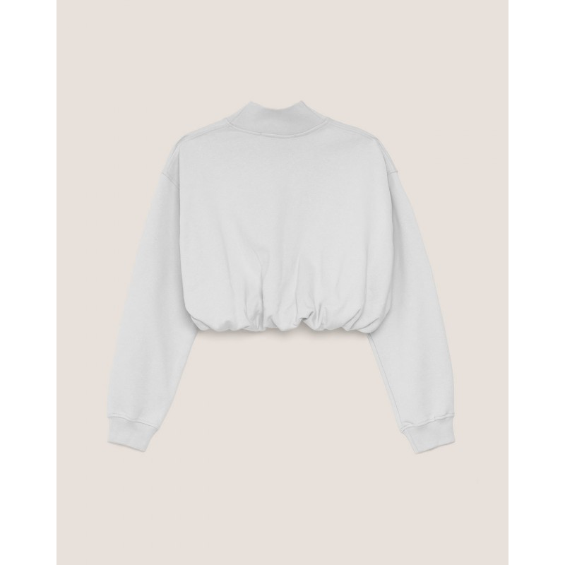 HINNOMINATE - Cotton Short Turtleneck Fleece Hnwsfco028 -White