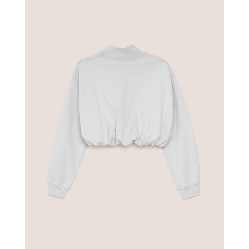 HINNOMINATE - Felpa in Cotone Corta Lupetto Hnwsfco028- Bianco
