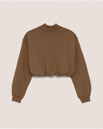 HINNOMINATE - Turtleneck Cotton Fleece - Coffee