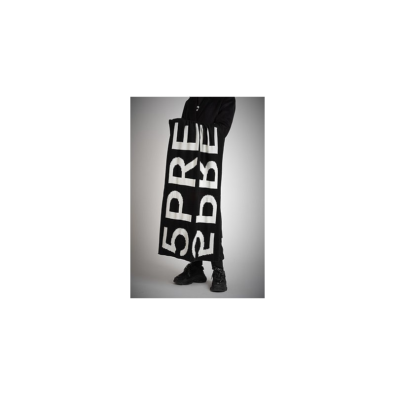 5 PREVIEW - Blended Wool Logo Scarf  - Black