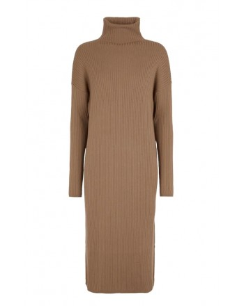 S MAX MARA - VICINO Turtleneck Wool Dress - Camel