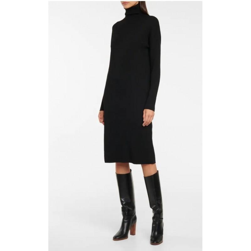 S MAX MARA - VICINO Turtleneck Wool Dress - Black