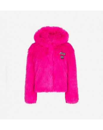 CHIARA FERRAGNI - Faux Fur CF RACING Jacket - Fluo Pink