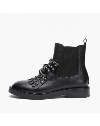 EMANUELLE VEE - Leather Beatles Boots with Chain- Black