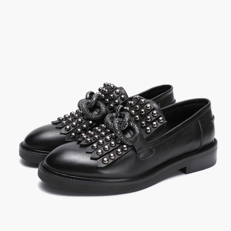 EMANUELLE VEE - Leather Loafers Boots with Chain- Black