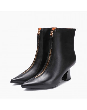 EMANUELLE VEE - Leather Half Boots - Black