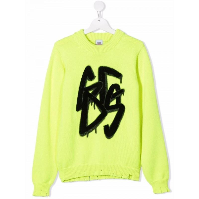GCDS BABY - Maglione con motivo graffiti 028445 - Giallo Fluo