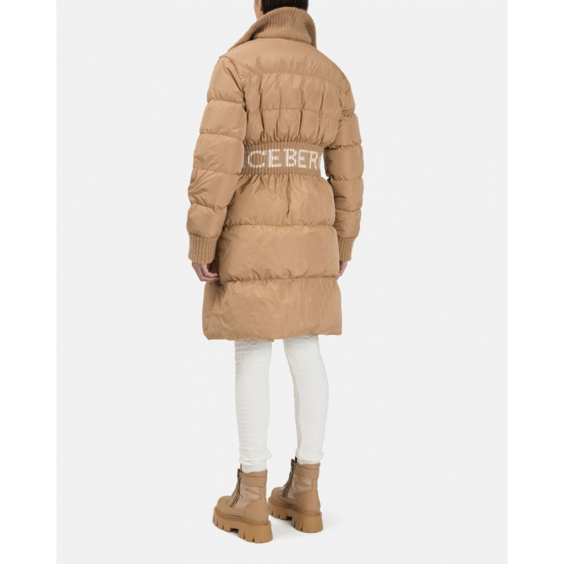 ICEBERG - Nylon Down Jacket with Mohair Neck - Hazelnut