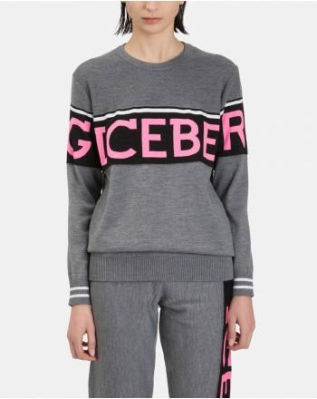 ICEBERG - Lurex Logo Merino Wool Knit - Light Grey