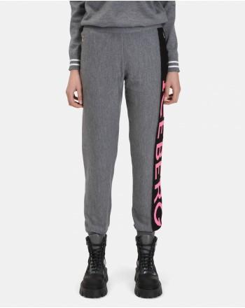 ICEBERG - Pantaloni Lana Merinos con Logo Lurex - Grigio Chiaro