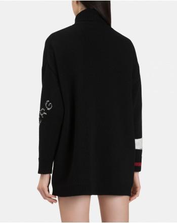 ICEBERG - FLOWER SNOOPY Wool Minidress -Black