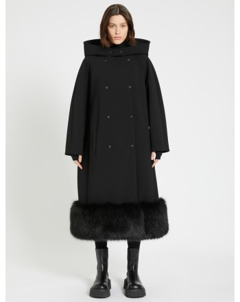 SPORTMAX - DOVIMA  Faux Fur Hem Coat - Black