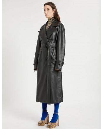 SPORTMAX - OPACO  Leather Coat - Black
